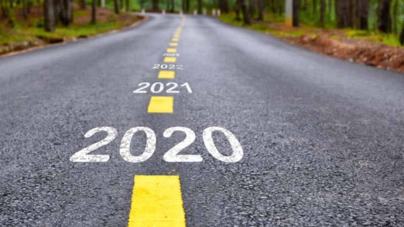 Empty asphalt road and New year 2019 concept. Driving on ...  2020 The Road Ahead
